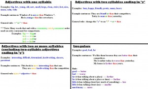Table Adjective Rules