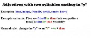 """Adjetives ending """"y"""""""
